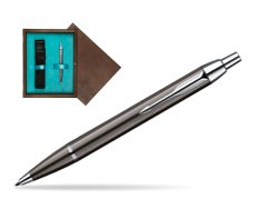 Parker IM Gun Metal CT Ballpoint Pen in single wooden box  Wenge Single Turquoise