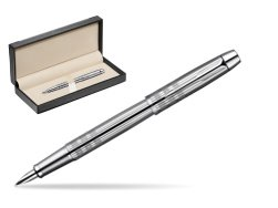 Parker IM Premium Shiny Chrome Metal Chiselled CT Fountain Pen  in classic box  black