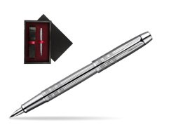 Parker IM Premium Shiny Chrome Metal Chiselled CT Fountain Pen  single wooden box  Black Single Maroon