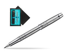Parker IM Premium Shiny Chrome Metal Chiselled CT Fountain Pen  single wooden box  Black Single Turquoise