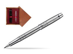 Parker IM Premium Shiny Chrome Metal Chiselled CT Fountain Pen  single wooden box Mahogany Single Maroon