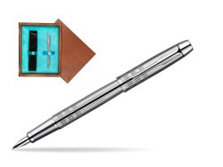 Parker IM Premium Shiny Chrome Metal Chiselled CT Fountain Pen  single wooden box  Mahogany Single Turquoise