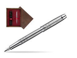 Parker IM Premium Shiny Chrome Metal Chiselled CT Fountain Pen  single wooden box  Wenge Single Maroon