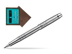 Parker IM Premium Shiny Chrome Metal Chiselled CT Fountain Pen  single wooden box  Wenge Single Turquoise