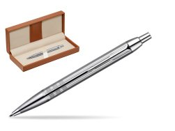 Parker IM Premium Shiny Chrome Metal Chiselled CT Ballpoint Pen  in classic box brown