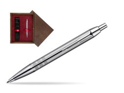 Parker IM Premium Shiny Chrome Metal Chiselled CT Ballpoint Pen  single wooden box  Wenge Single Maroon