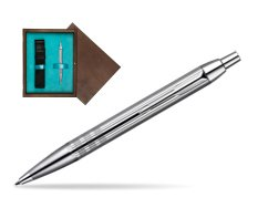 Parker IM Premium Shiny Chrome Metal Chiselled CT Ballpoint Pen  single wooden box  Wenge Single Turquoise