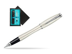 Parker Urban Premium Pearl Metal Chiselled CT Fountain Pen  single wooden box  Black Single Turquoise