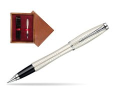 Parker Urban Premium Pearl Metal Chiselled CT Fountain Pen  single wooden box Mahogany Single Maroon
