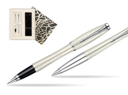 Parker Urban Premium Pearl Metal Chiselled CT Fountain Pen + Parker Urban Premium Pearl Metal Chiselled CT Ballpoint Pen in a Gift Box in Standard Gift Box