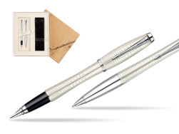 Parker Urban Premium Pearl Metal Chiselled CT Fountain Pen + Parker Urban Premium Pearl Metal Chiselled CT Ballpoint Pen in a Gift Box in Standard 2 Gift Box