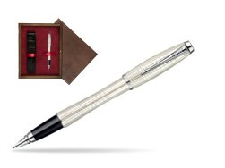 Parker Urban Premium Pearl Metal Chiselled CT Fountain Pen  single wooden box  Wenge Single Maroon