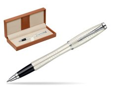 Parker Urban Premium Pearl Metal Chiselled CT Rollerball Pen  in classic box brown