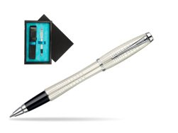 Parker Urban Premium Pearl Metal Chiselled CT Rollerball Pen  single wooden box  Black Single Turquoise