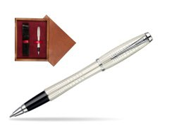Parker Urban Premium Pearl Metal Chiselled CT Rollerball Pen  single wooden box Mahogany Single Maroon