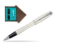 Parker Urban Premium Pearl Metal Chiselled CT Rollerball Pen  single wooden box  Wenge Single Turquoise