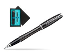 Parker Urban Premium Ebony Metal Chiselled CT Fountain Pen  single wooden box  Black Single Turquoise