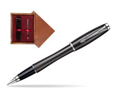 Parker Urban Premium Ebony Metal Chiselled CT Fountain Pen  single wooden box Mahogany Single Maroon
