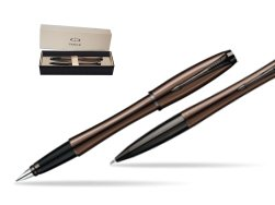 Parker Urban Premium Metallic Brown Lacquer Fountain Pen + Parker Urban Premium Metallic Brown Lacquer Ballpoint Pen in a Gift Box