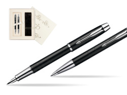 Parker IM Premium Matte Black Lacquer CT Fountain Pen + Parker IM Premium Matte Black Lacquer CT Ballpoint Pen in a Gift Box in Wedding Gift Box