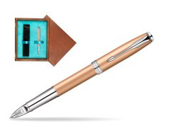 Parker Sonnet Pink Gold PVD CT Parker 5TH Technology in single wooden box  Mahogany Single Turquoise