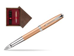 Parker Sonnet Pink Gold PVD CT Parker 5TH Technology in single wooden box  Wenge Single Maroon